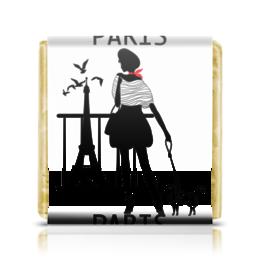 """Шоколадка 3,5×3,5 см """"Ностальгия по Парижу. Силуэт (ESZAdesign)"""" - девушка, силуэт, стильный, париж, эйфелева башня"""