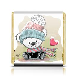 """Шоколадка 3,5×3,5 см """"Медвежонок"""" - юмор, зима, рисунок, мультяшка, медвежонок"""
