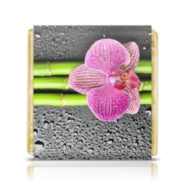 """Шоколадка 3,5×3,5 см """"Коллегам (50 шт.)"""" - цветы, 8 марта, работа, орхидея, капли"""
