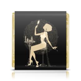 """Шоколадка 35х35 """"Красивая девушка с зеркалом  силуэт ESZAdesign"""" - арт, красотка, стильный, фешн, элегантный"""