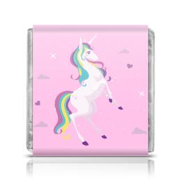 "Шоколадка 35х35 ""Единорог"" - сердечки, единорог, звездочки, искорки, белый единорог"