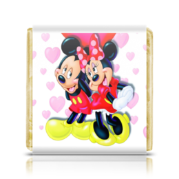 """Шоколадка 35х35 """"Микки и Минни Маус"""" - любовь, love is, микки маус, дисней, поп"""
