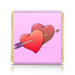 """Шоколадка 35х35 """"Сердца пронзенные стрелой"""" - любовь, сердца, пара, сердечки, стрела"""