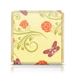 """Шоколадка 35х35 """"Цветочная"""" - бабочки, цветы, узор, розы, цветочный"""