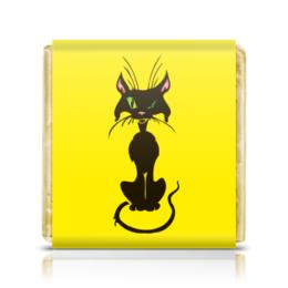 """Шоколадка 3,5×3,5 см """"Черный кот"""" - кот, глаза, черный, зеленые, животное"""