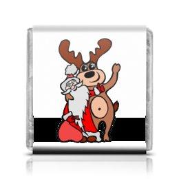 """Шоколадка 3,5×3,5 см """"Дед мороз с оленем"""" - праздник, новый год, радость, дед мороз, олень"""