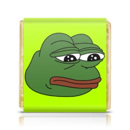 """Шоколадка 3,5×3,5 см """"Грустная лягушка"""" - мем, meme, грустная лягушка, sad frog, pepe frog"""