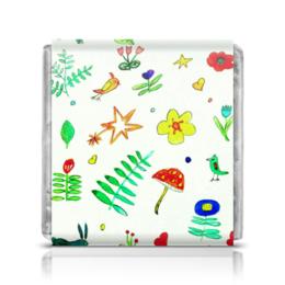 "Шоколадка 3,5×3,5 см ""Шоколадка Финская тема"" - сердечки, птички, цветочки, звездочки"