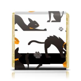 """Шоколадка 35х35 """"Чёрные кошки"""" - кот, кошка, животные, коты, котёнок"""