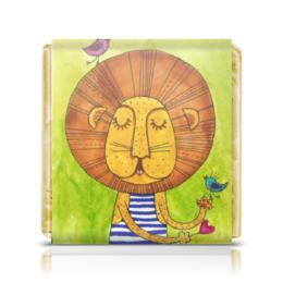 """Шоколадка 35х35 """"Лев Бонифаций в тельняжке"""" - лев, акварель, грива, бонифаций, тельняжка"""
