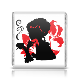 """Шоколадка 35х35 """"Красивая девушка с чашкой чая. Силуэт (ESZAdesign)"""" - девушка, силуэт, цветок, красотка, стильный"""