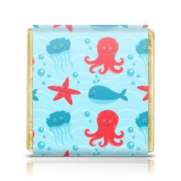 """Шоколадка 35х35 """"морская"""" - стиль, рисунок, детский, осминог, морской"""