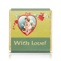 """Шоколадка 3,5×3,5 см """"With love! («С любовью!»)"""" - ангел, сердца, 14 февраля, незабудки, ретро-открытка"""
