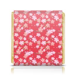 "Шоколадка 3,5×3,5 см ""Вишнёвый сад"" - цветы, вишня"