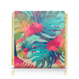 """Шоколадка 35х35 """"Джунгли"""" - цветы, краски, природа, акварель, джунгли"""