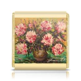 """Шоколадка 3,5×3,5 см """"Ваза с цветами"""" - цветы, рисунок, картина, ваза"""