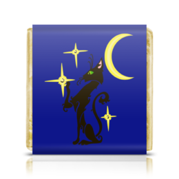 """Шоколадка 35х35 """"Ночная кошка"""" - ночь, луна, звезда, кошка, кот"""