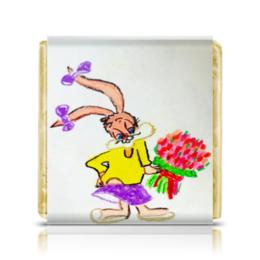 """Шоколадка 35х35 """"Зайка"""" - цветы, зайка"""