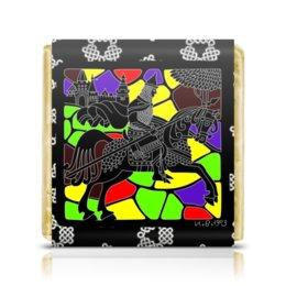 "Шоколадка 3,5×3,5 см ""Богатырь"" - графика, конь, богатырь, лубок, билибин"