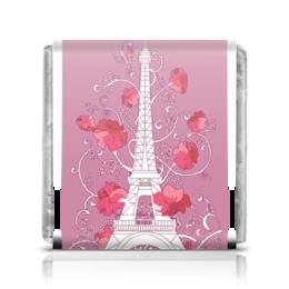 """Шоколадка 35х35 """"Эйфелева башня среди роз (ESZAdesign)"""" - силуэт, мода, символ, эйфелева башня, романтичный"""