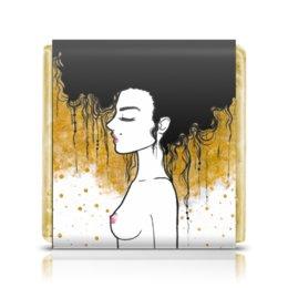 """Шоколадка 3,5×3,5 см """"Golden"""" - любовь, девушка, золотой, климт"""