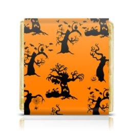 """Шоколадка 3,5×3,5 см """"Halloween"""" - праздник, дерево, тыква, паук, светильник джека"""