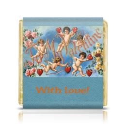 "Шоколадка 3,5×3,5 см ""To My Valentine"" - ангел, сердца, 14 февраля, день влюблённых, ретро-открытка"