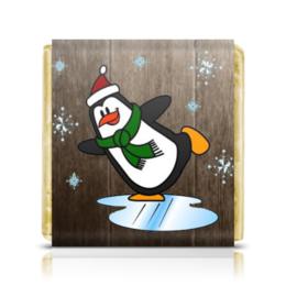 """Шоколадка 35х35 """"Пингвин"""" - праздник, новый год, зима, снежинки, пингвин"""