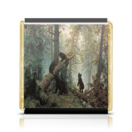 """Шоколадка 35х35 """"Утро в сосновом лесу"""" - шишкин, мишки, третьяковка, картина"""