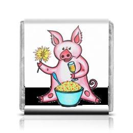"""Шоколадка 3,5×3,5 см """"Год свиньи"""" - новый год, поросенок, свин, год свиньи, хрюн"""