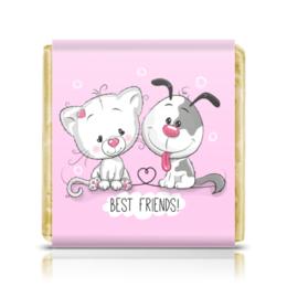"""Шоколадка 35х35 """"Друзья"""" - мультяшки, друзья, рисунок, щенок, котёнок"""