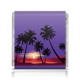 """Шоколадка 3,5×3,5 см """"Острова в океане"""" - море, закат, яхта, острова, пальмы"""