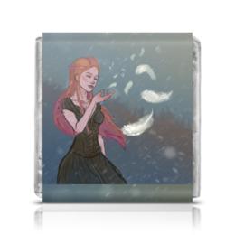 """Шоколадка 3,5×3,5 см """"Перышко"""" - девушка, снег, рыжая, ветер, перышко"""