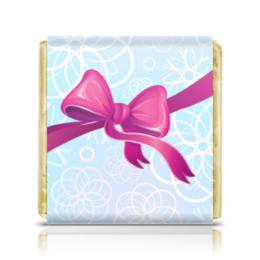 """Шоколадка 35х35 """"Подарок"""" - новый год, зима, бант, подарок, снежинки"""