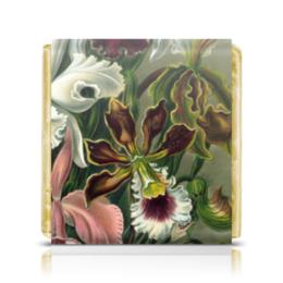 """Шоколадка 3,5×3,5 см """"Орхидеи 2 (Orchideae, Ernst Haeckel)"""" - арт, 8 марта, орхидея, день матери, эрнст геккель"""