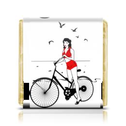 """Шоколадка 3,5×3,5 см """"Девушка на велосипеде. Пин ап (ESZAdesign)"""" - ретро, рисунок, винтаж, пинап, девушк"""