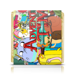 "Шоколадка 35х35 ""Adventure Time"" - мультфильм, коллаж, для детей, adventure time"