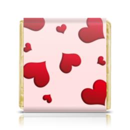 """Шоколадка 35х35 """"Сердечки"""" - любовь, сердца, сердечки, красные, розовые"""