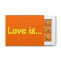 """Набор конфет """"12 шоколадок"""" """"Love is..."""" - сердце, любовь, фрукты, влюбленные, авокадо"""