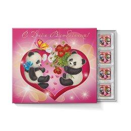 """Набор конфет """"С ореховой начинкой"""" """"ДЕНЬ СВЯТОГО ВАЛЕНТИНА"""" - любовь, цветы, надпись, панда, красота"""