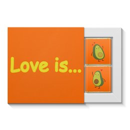 """Набор конфет """"4 шоколадки"""" """"Love is..."""" - сердце, любовь, фрукты, влюбленные, авокадо"""