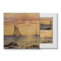 """Набор конфет """"4 шоколадки"""" """"Картина Море - Орешич А.В."""" - море, картина, природа, лодка, парус"""