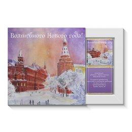 """Набор конфет """"4 шоколадки"""" """"Новогодняя Москва"""" - новый год, зима, снег, красная площадь, ночная москва"""