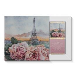 """Набор конфет """"4 шоколадки"""" """"Вечерние пионы Парижа"""" - романтика, 8 марта, пионы, подарок любимой, эфелева башня"""