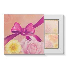 """Набор конфет """"4 шоколадки"""" """"Подарок, букет цветов"""" - цветы, девушке, подарок, розы, розовый бант"""