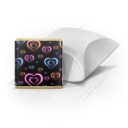 """Набор шоколадных конфет """"Ракушка"""" """"Неоновые сердца, с выбором цвета фона."""" - сердце, узор, сердца, сердечки, неон"""