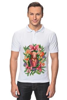 """Рубашка Поло """"акварельная новогодняя забавная собака"""" - милый, собака, символ года, акварель, украшение"""