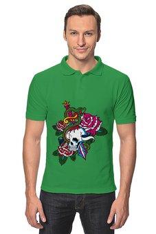 """Рубашка Поло """"Череп"""" - череп, роза, кинжал, змей"""