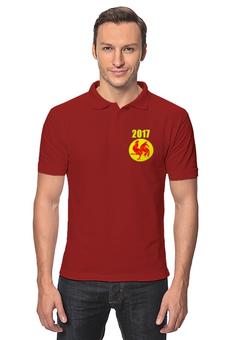 """Рубашка Поло """"2017 - год Красного Петуха"""" - новый год, 2017, красный петух, восточный календарь"""