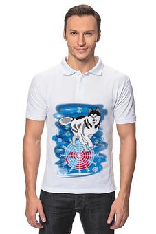 """Рубашка Поло """"Бегущая по снегам"""" - собака, снежинки, хаски, северное сияние, северное полушарие"""